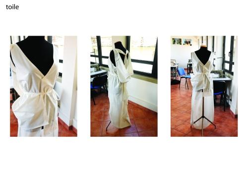 toile, en klänning sydd i prototyp