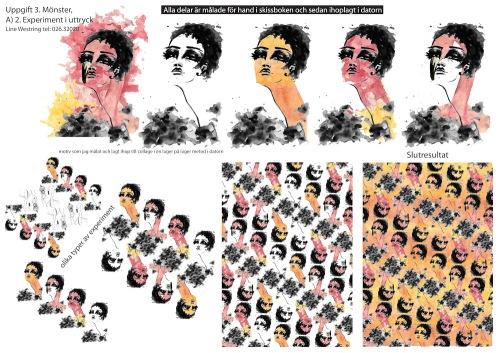 mönster ritat med akvarell och ihoplagt i datorn